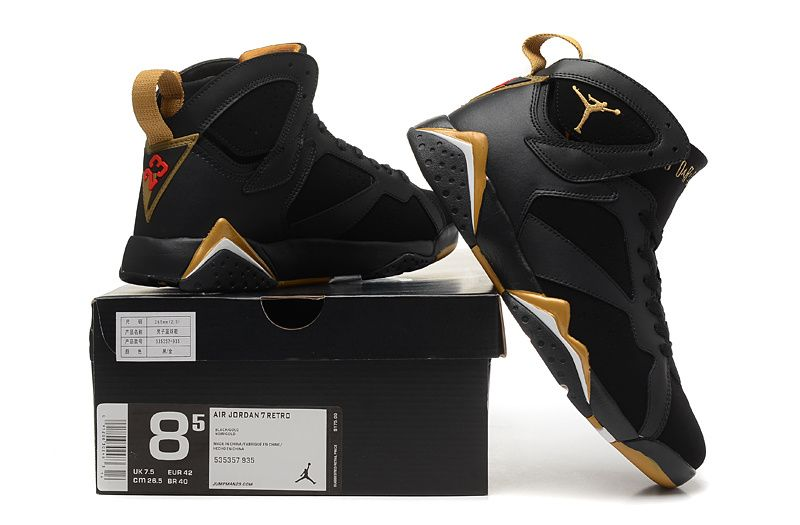 jordan 7 black and gold